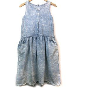 VINTAGE Acid Wash Sleeveless Fit Flare Denim Dress